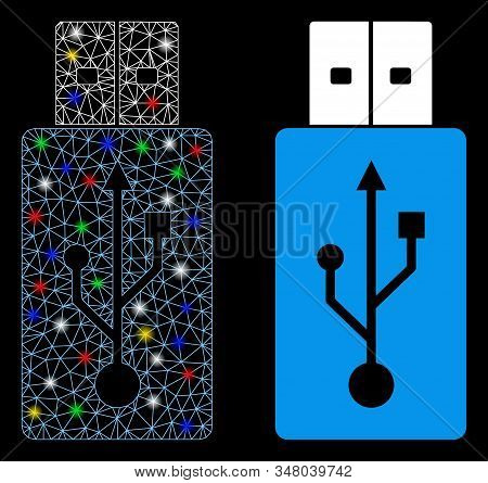 Glossy mesh USB flash drive icon with glare effect. Abstract illuminated model of USB flash drive. Shiny wire carcass polygonal network USB flash drive icon. Vector abstraction on a black background. stock photo