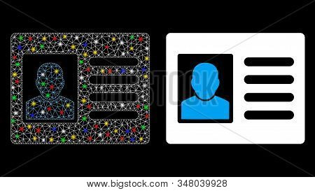 Glowing mesh account card icon with lightspot effect. Abstract illuminated model of account card. Shiny wire frame polygonal mesh account card icon. Vector abstraction on a black background. stock photo