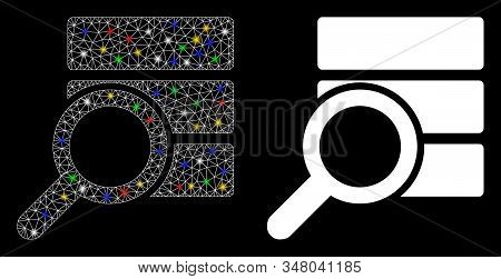 Glossy mesh explore database icon with sparkle effect. Abstract illuminated model of explore database. Shiny wire frame polygonal mesh explore database icon. Vector abstraction on a black background. stock photo