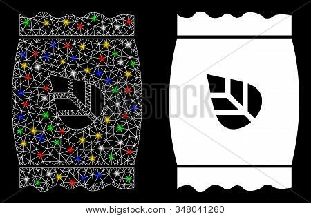 Glowing mesh seed pack icon with glow effect. Abstract illuminated model of seed pack. Shiny wire carcass polygonal mesh seed pack icon. Vector abstraction on a black background. stock photo