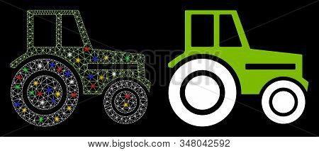 Glossy mesh wheeled tractor icon with lightspot effect. Abstract illuminated model of wheeled tractor. Shiny wire frame triangular network wheeled tractor icon. stock photo