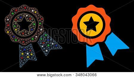 Glossy mesh award badge icon with glare effect. Abstract illuminated model of award badge. Shiny wire carcass polygonal mesh award badge icon. Vector abstraction on a black background. stock photo