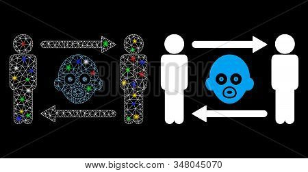 Glowing mesh persons baby exchange icon with glare effect. Abstract illuminated model of persons baby exchange. Shiny wire carcass polygonal mesh persons baby exchange icon. stock photo