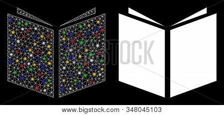 Glossy mesh book icon with lightspot effect. Abstract illuminated model of book. Shiny wire frame polygonal mesh book icon. Vector abstraction on a black background. stock photo
