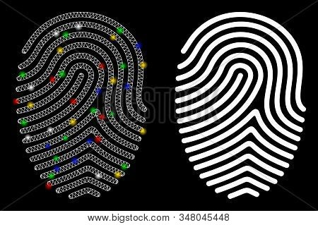 Glowing mesh finger print icon with lightspot effect. Abstract illuminated model of finger print. Shiny wire carcass polygonal mesh finger print icon. Vector abstraction on a black background. stock photo