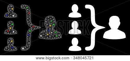 Glossy mesh organization structure icon with lightspot effect. Abstract illuminated model of organization structure. Shiny wire carcass polygonal network organization structure icon. stock photo