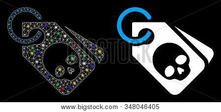 Glowing mesh death skull tags icon with glow effect. Abstract illuminated model of death skull tags. Shiny wire frame triangular mesh death skull tags icon. Vector abstraction on a black background. stock photo