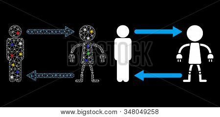 Glossy mesh man exchange robot icon with glare effect. Abstract illuminated model of man exchange robot. Shiny wire carcass polygonal mesh man exchange robot icon. stock photo