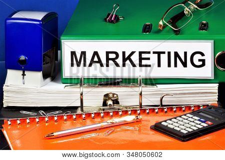 Marketing - organization of product promotion, services to customers for the benefit of the organization in order to make a profit. stock photo