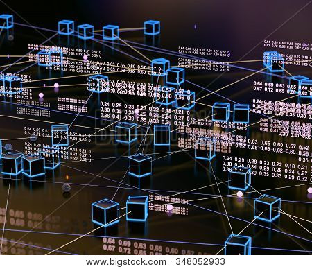 Abstract and digital image related to cyber security .Data volume analysis and computer science industry.3d illustration.Data structure and information tools for networking business stock photo