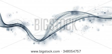 Dynamic particles sound wave flowing. Dotted curves vector abstract background. Beautiful 3d wave shaped array of blended points. stock photo