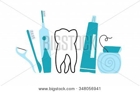 Vector isolated illustration of tooth and accesories. Concept of tooth cleaning, care and protection from tooth decay. Teeth icon. Medical banner or poster illustration. Oral Health stock photo