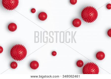 Abstract virus strain model of Novel coronavirus 2019-nCoV on white with copy space. Virus Pandemic Protection Concept stock photo