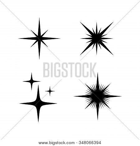 Set of Sparkle Star icon on white background, Sparkles star vector Isolated. Sparkles icon flat, Sparkle light. Sparkling stars. Sparkles black symbols. Sparkling symbol. Ray icon, stock photo