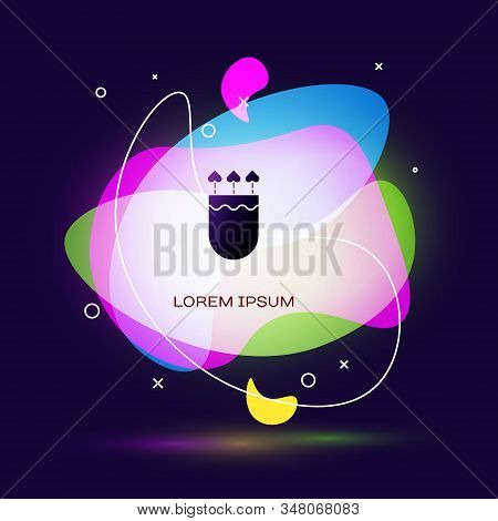 Black Quiver and arrows with heart icon isolated on blue background. Cupid symbol. Love sign. Valentines day concept. Abstract banner with liquid shapes. Vector Illustration stock photo