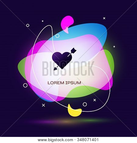 Black Amour symbol with heart and arrow icon isolated on blue background. Love sign. Valentines symbol. Abstract banner with liquid shapes. Vector Illustration stock photo
