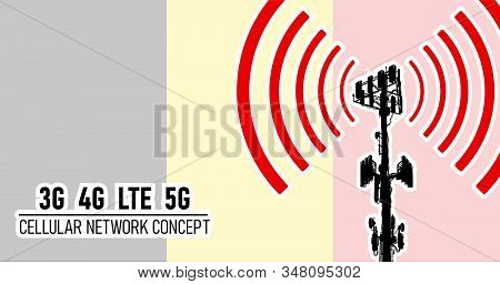Cellular mobile network tower - connection concept for Belgium, vector illustration of 3g 4g LTE 5g harmful waves from the tower, danger of 5G networks idea with colors black, yellow, red stock photo