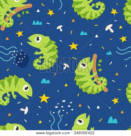 Vector seamless pattern Cute iguana, Adorable little iguana seamless pattern. Vector cute animal background stock photo