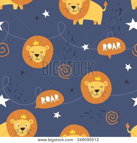 Vector seamless pattern Cute lion with crown, Adorable little lion seamless pattern. Vector cute animal background stock photo