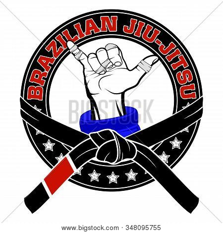 Vector image of a jiu-jitsu fighter's hand. Shaka. Traditional Brazilian martial art. Champion of combat. Illustrations for t shirt print. Tournament winner. stock photo