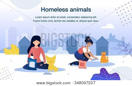 Homeless Animals Care and Rescue Trendy Flat Vector Banner, Poster Template. Female Volunteers, Multinational Women Taking Care, Feeding Stray Cat and Dog in Animal Shelter Territory Illustration stock photo