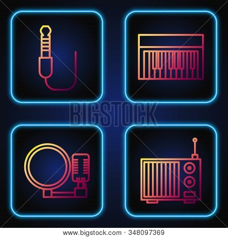 Set line Radio with antenna, Microphone, Audio jack and Music synthesizer. Gradient color icons. Vector stock photo