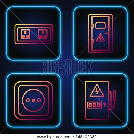 Set line Electrical panel, Electrical outlet, Electrical outlet and Electrical cabinet. Gradient color icons. Vector stock photo