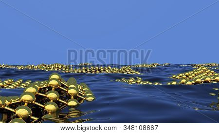 Ecological science abstract background with absorbent grid on the sea or ocean surface to clean the pollution. 3D illustration stock photo