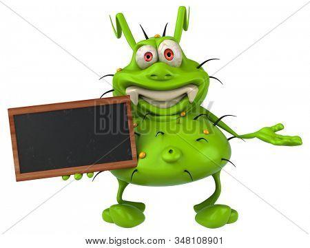Fun 3D germ monster holding a blackboard stock photo