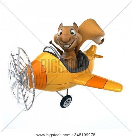 Fun 3D cartoon character squirrel stock photo