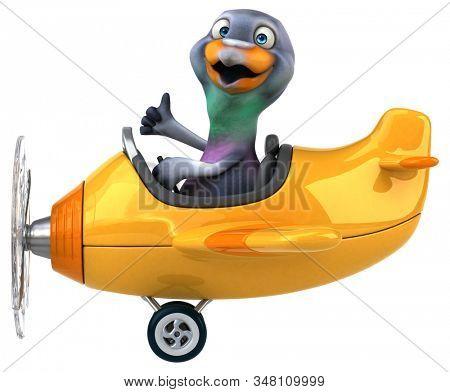 Fun 3D cartoon character pigeon stock photo