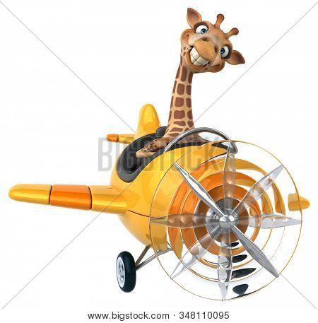 Fun 3D cartoon character giraffe stock photo