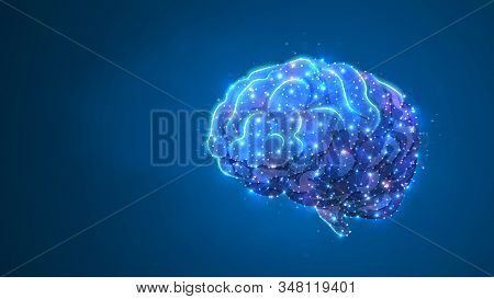 Human Brine. Organ anatomy, neurology, healthy body concept. Polygonal image on blue neon background. Low poly, wireframe, digital 3d vector illustration. Abstract art stock photo