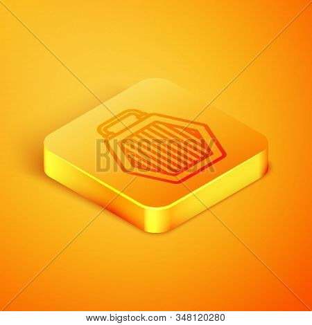 Isometric line Pet carry case icon isolated on orange background. Carrier for animals, dog and cat. Container for animals. Animal transport box. Orange square button. Vector Illustration stock photo