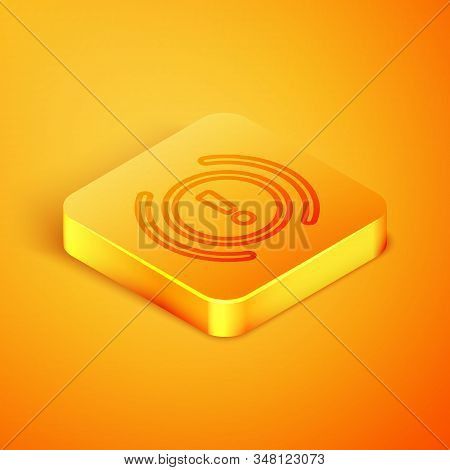 Isometric line Brake system warning icon isolated on orange background. Exclamation mark in the car. Dashboard attention sign. Orange square button. Vector Illustration stock photo