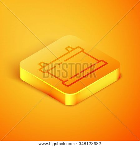 Isometric line Car battery icon isolated on orange background. Accumulator battery energy power and electricity accumulator battery. Orange square button. Vector Illustration stock photo