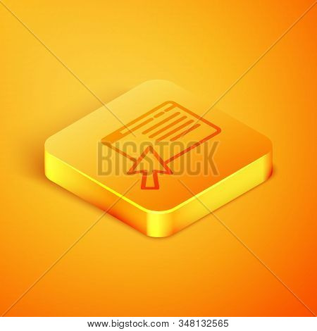 Isometric line Online shopping on screen icon isolated on orange background. Concept e-commerce, e-business, online business marketing. Orange square button. Vector Illustration stock photo