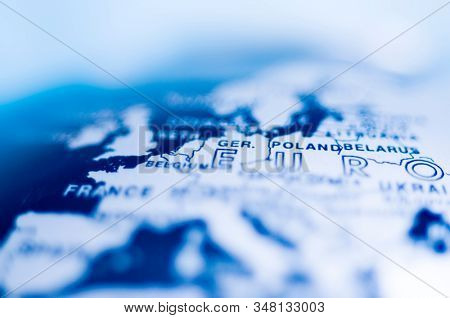 Close up of blue europe map stock photo