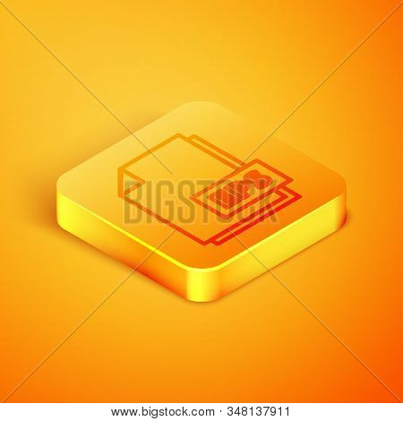 Isometric line EPS file document. Download eps button icon isolated on orange background. EPS file symbol. Orange square button. Vector Illustration stock photo
