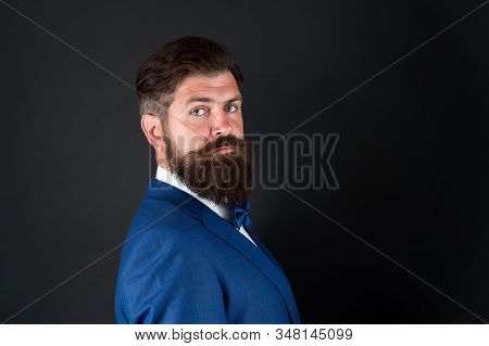 Masculine aesthetic. Few grooming life hacks help achieve great look, whatever occasion. Well groomed man beard in suit. Male fashion and aesthetic. Businessman formal outfit. Classic style aesthetic. stock photo