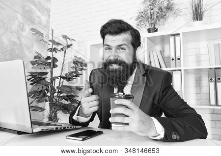 Encrypted communication app will protect your company secrets. Bearded man use wireless communication in office. Businessman establish online communication with customers. Business communication. stock photo