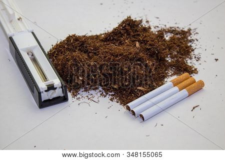 production of cigarette smuggling, illicit cigarette production, crime production and sale of cigarettes stock photo