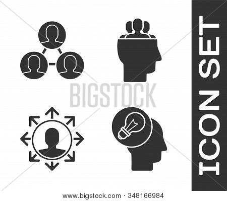 Set Human head with lamp bulb, Project team base, Project team base and Project team base icon. Vector stock photo