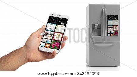 Smart fridge phone app, hand holding mobile phone isolated against white background, applications on the screen. 3d illustration stock photo