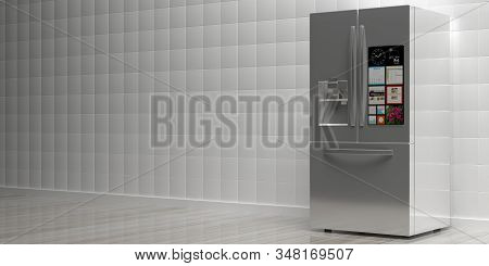 Refrigerator smart appliance, refrigerate. Home metal silver side by side fridge on wood floor, white tile wall background, interior kitchen view, copy space. 3d illustration stock photo