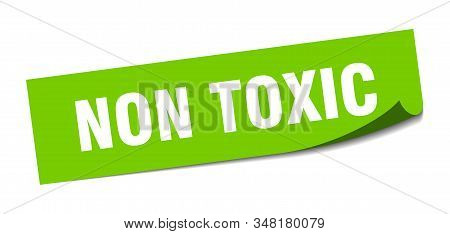 non toxic sticker. non toxic square sign. non toxic. peeler stock photo