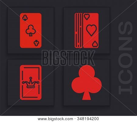 Set Playing card with clubs symbol, Playing card with clubs symbol, Deck of playing cards and Joker playing card icon. Vector stock photo