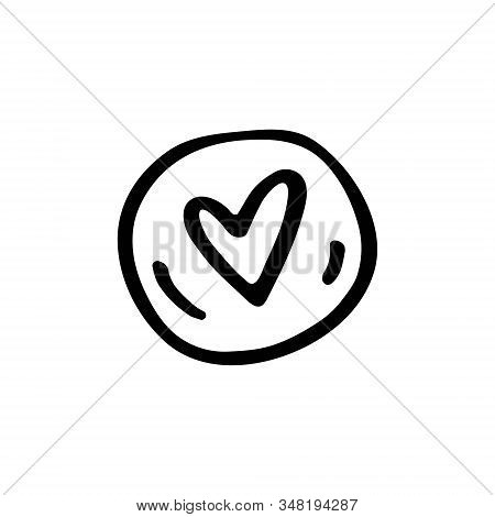 Heart medical symbol cartoon doodle hand drawn vector illustration, icon, sticker. Black line art design. Isolated on white background. Easy to change color. Medicine, health care, protection. stock photo