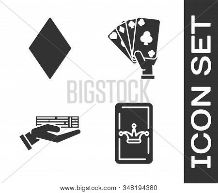 Set Joker playing card, Playing card with diamonds symbol, Hand holding deck of playing cards and Hand holding playing cards icon. Vector stock photo