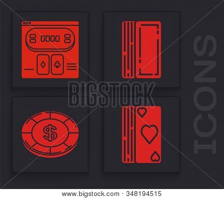 Set Deck of playing cards, Online poker table game, Deck of playing cards and Casino chip with dollar symbol icon. Vector stock photo